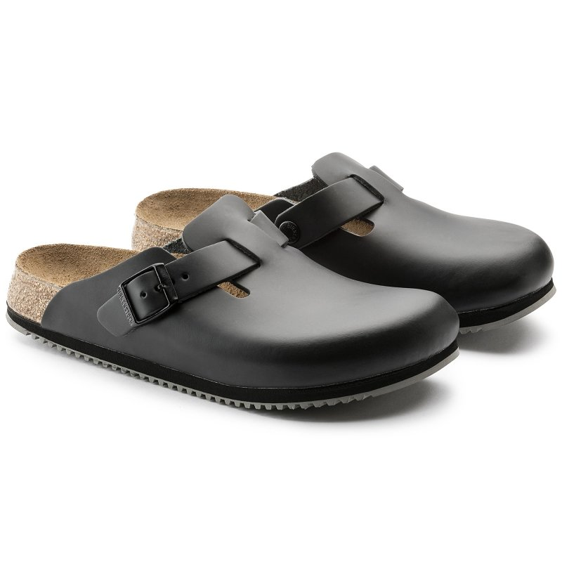 Birkenstock_Boston Leather Black Supergrip