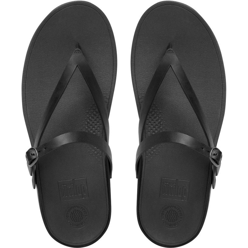 Fitflop_FLIP LEATHER TOE-THONG SANDALS ALL BLACK 1