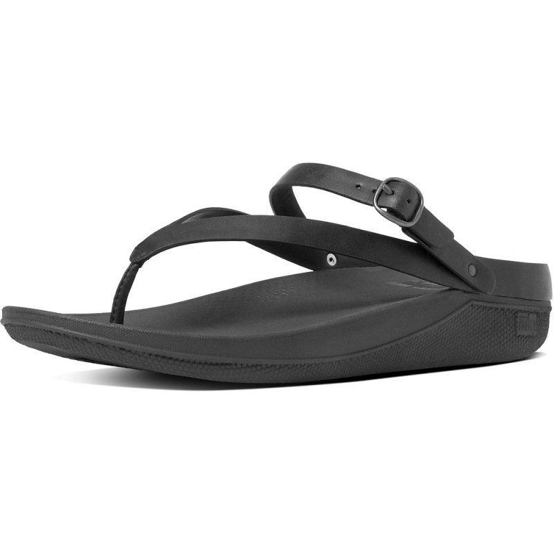 Fitflop_FLIP LEATHER TOE-THONG SANDALS ALL BLACK 2