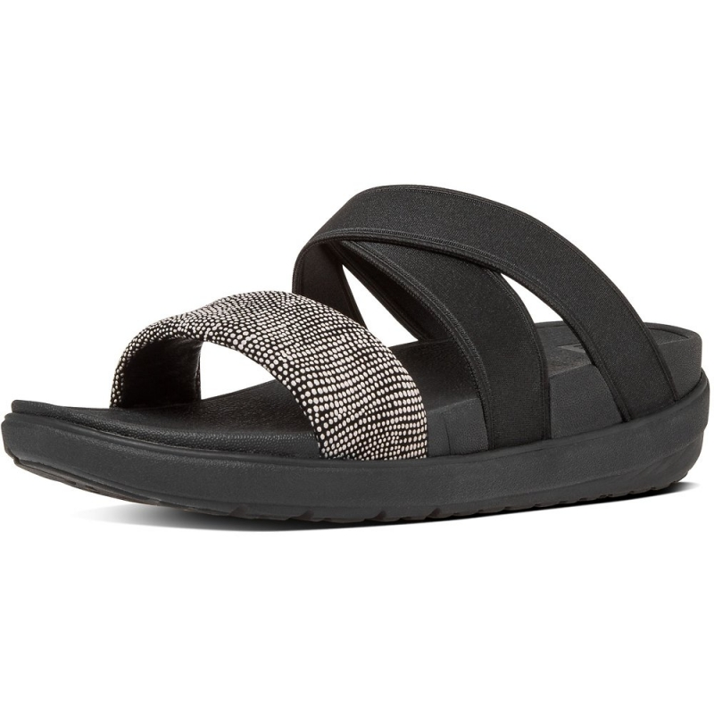 Fitflop_LOOSH GLADIATOR SLIDE SANDALS BLACK PEBBLE