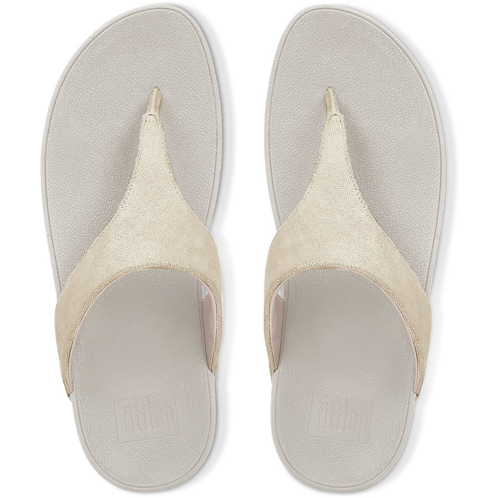 3e7075df06c87b FitFlop Shimmy Suede Toe-Thong Sandals Pale Gold
