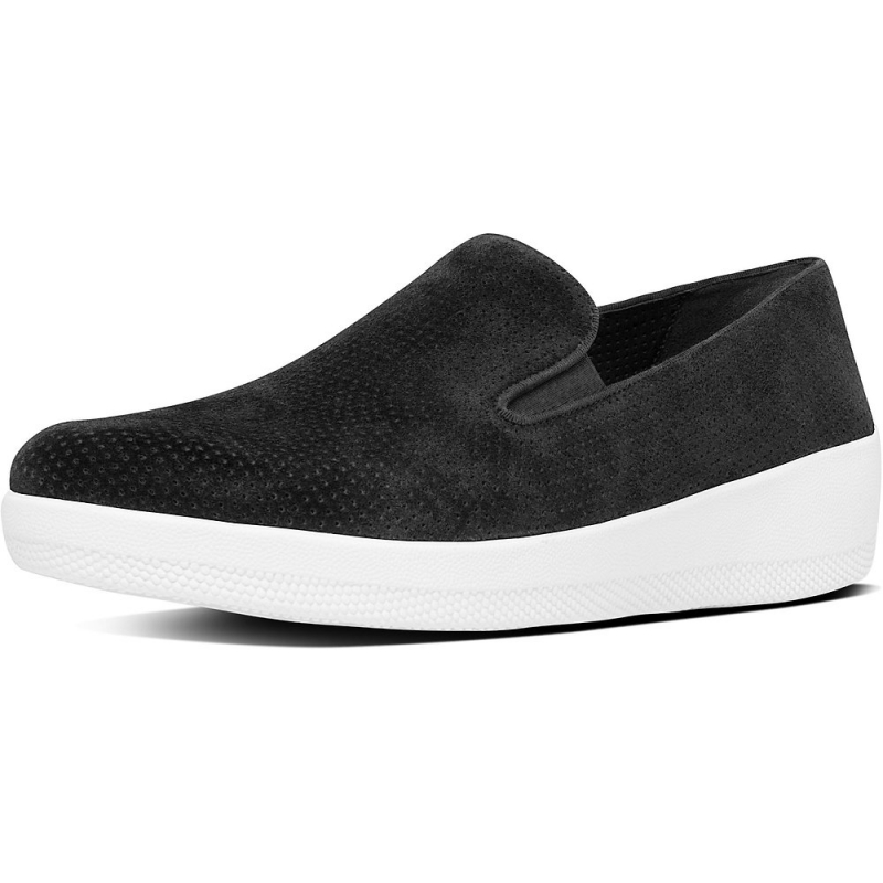 Fitflop_SUPERSKATE PERF SUEDE LOAFERS BLACK