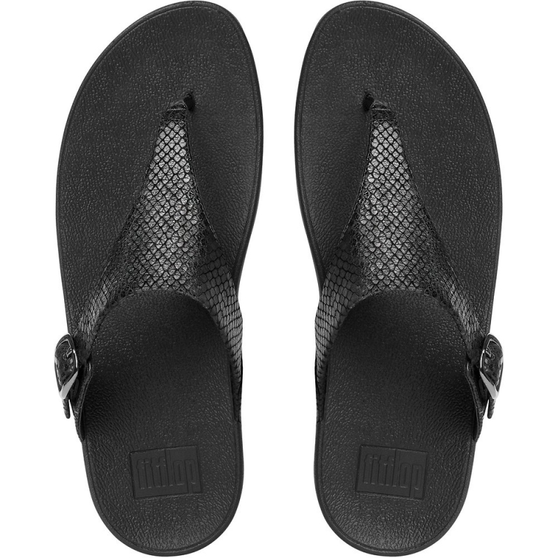 Fitflop_THE SKINNY TOE-THONG SNAKE EMBOSSED SANDALS BLACK SNAKE