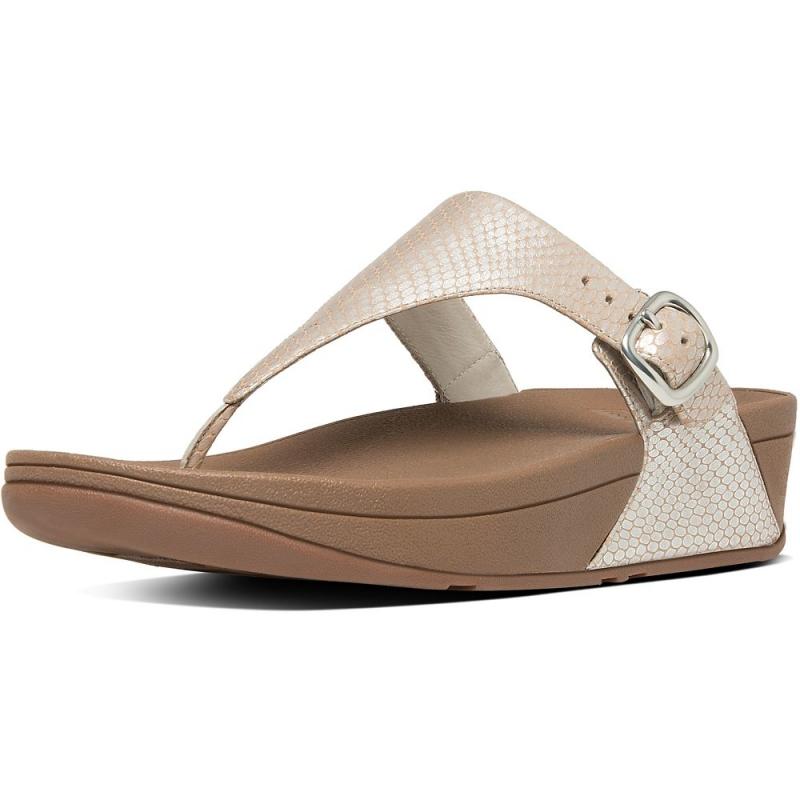 Fitflop_THE SKINNY TOE-THONG SNAKE EMBOSSED SANDALS SILVER SNAKE